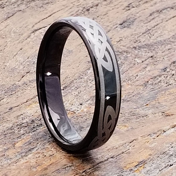 Viking Black Tungsten Knot Celtic Rings Sizable Foxy