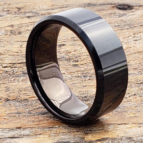 Orion Mens Beveled Black Tungsten Rings