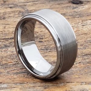 10mm step down edges brushed tungsten wedding bands