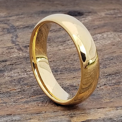 Eclipse Gold Polished Tungsten Rings
