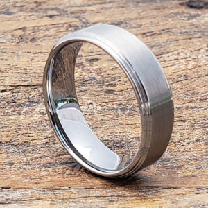 7mm satin brushed tungsten rings
