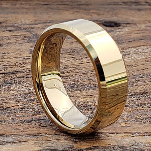 Orion Beveled Gold Mens Tungsten Rings