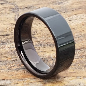 9mm europa black pipe cut mens tungsten rings