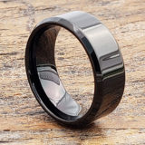 9mm orion beveled polished black tungsten rings