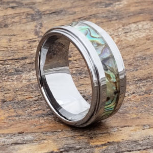 abalone mens inlay shell rings