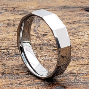 affordable mens faceted tungsten rings