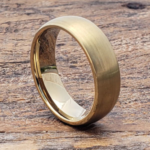 antique brushed gold tungsten rings