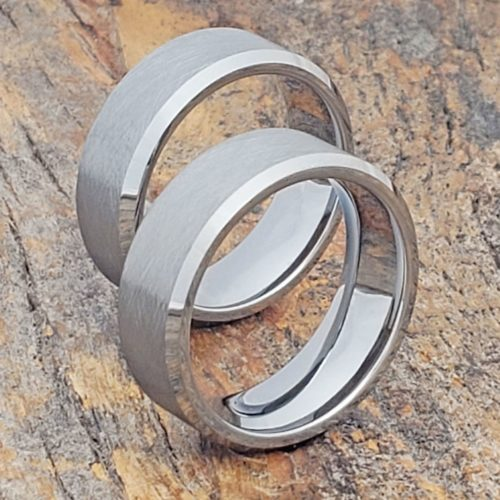 Athens Cross Brushed Tungsten Wedding Bands