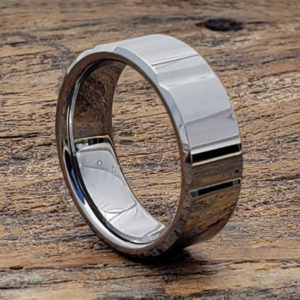 beveled horizontal womens tungsten rings