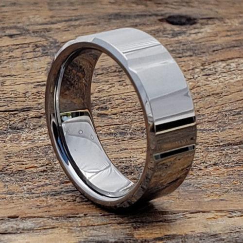 Bryson Beveled Horizontal Womens Tungsten Rings