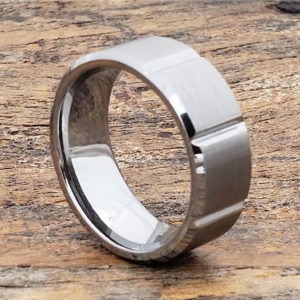 beveled tungsten wedding bands