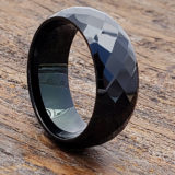 black facet tungsten rings