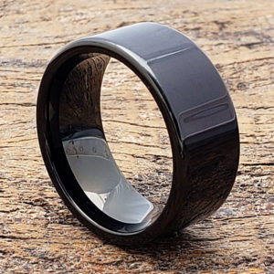 black flat mens tungsten rings