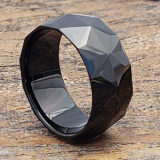 black mens faceted rings