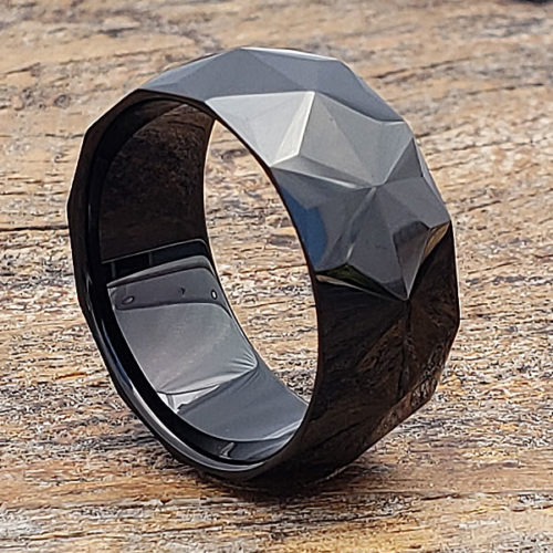Pavo Black Mens Faceted Tungsten Rings