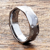 brushed mens faceted tungsten ring