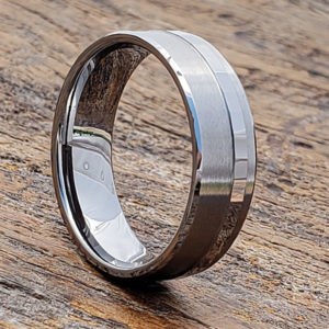 brushed raised facet carved rings