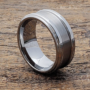 brushed tungsten wedding bands