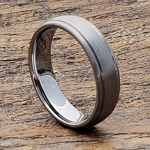 Turbo Brushed Womens Tungsten Rings