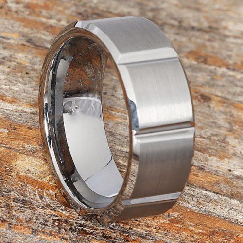 Bryson Beveled Tungsten Wedding Bands