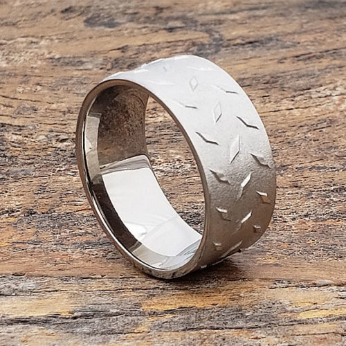 Diamond Plate Carved Titanium Rings