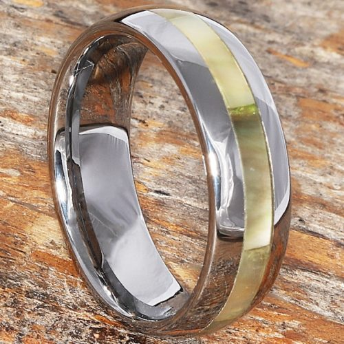 Chivalry Mens Black Inlay Shell Rings