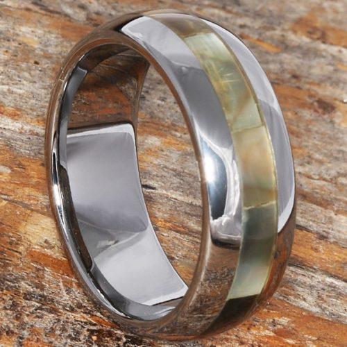 Chivalry Mens Ocean Black Inlay Shell Rings