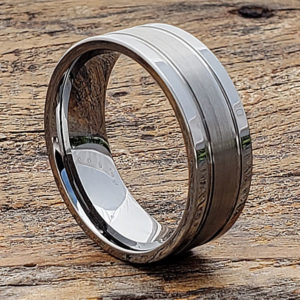 classic matte tungsten wedding bands