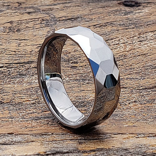 Eros Cocktail Faceted Tungsten Rings