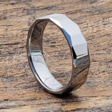 comfort fit mens faceted tungsten rings