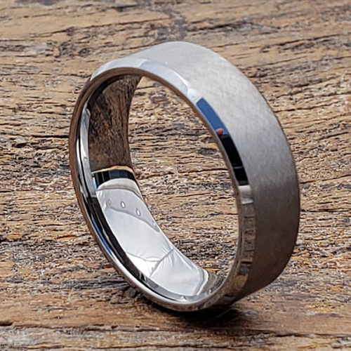 Athens Cross Brushed Tungsten Rings