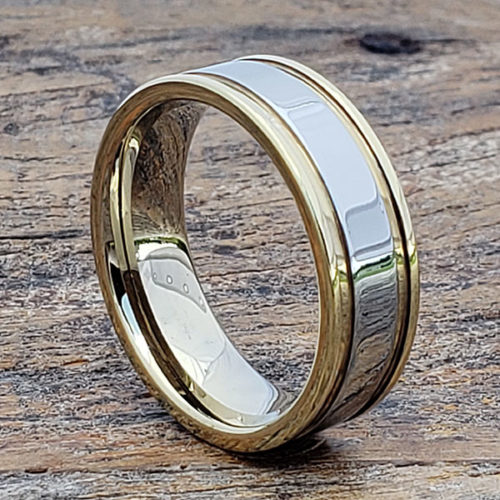 Dagda Grooved Gold Tungsten Rings