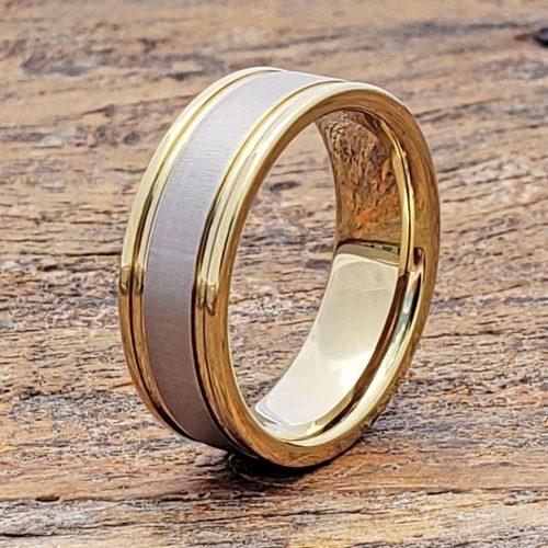 Dagda Laser Engraved Gold Tungsten Rings