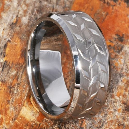 Diamond Plate Brush Carved Rings