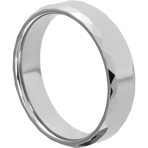 Diva Reflective Mens Faceted Tungsten Rings