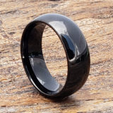 eclipse polished dome black tungsten rings
