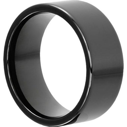 Europa Black Flat Mens Tungsten Rings
