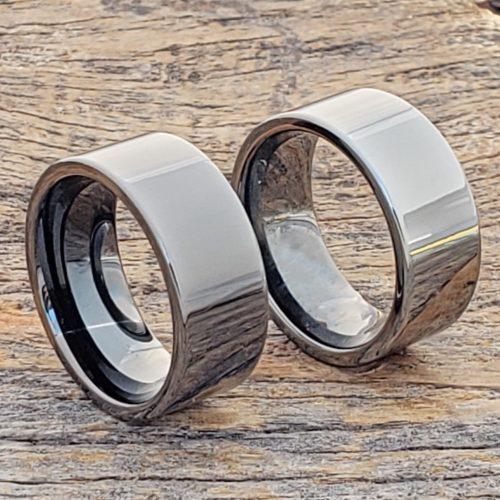 Europa Black Ice Gunmetal Tungsten Rings
