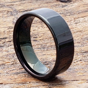 europa flat black mens tungsten rings