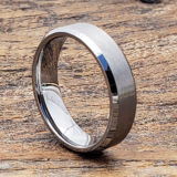 flat florentine brushed tungsten wedding bands