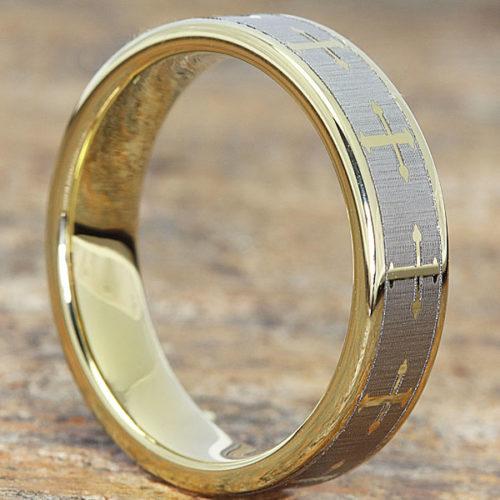 Trinity Flat Gold Cross Rings