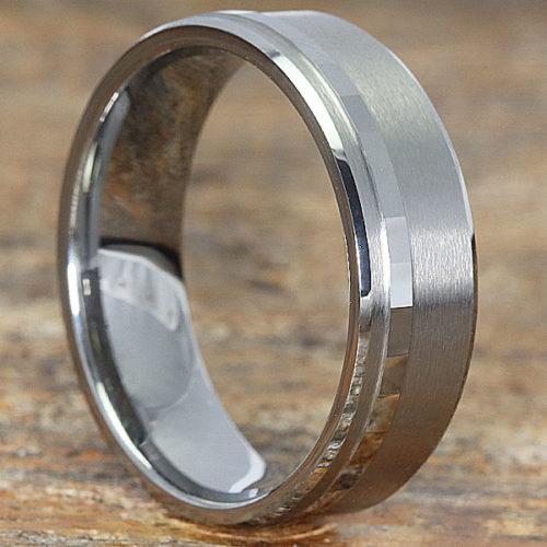 Gemini Brushed Raised Facet Carved Rings