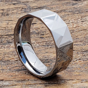 geometric faceted tungsten rings