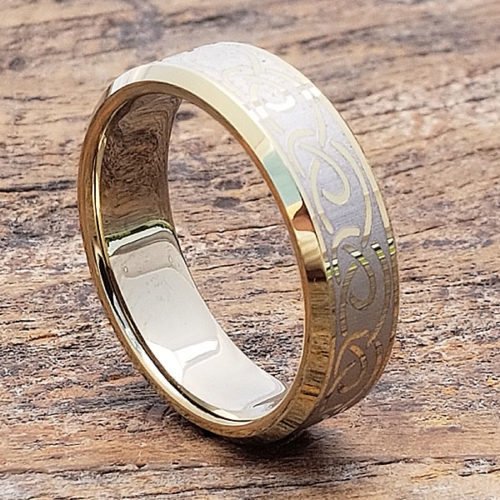 Dublin Gold Knot Beveled Infinity Rings
