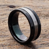 grooved brushed black tungsten rings