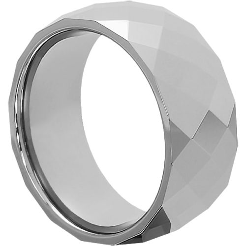 Hades Casual Faceted Tungsten Rings