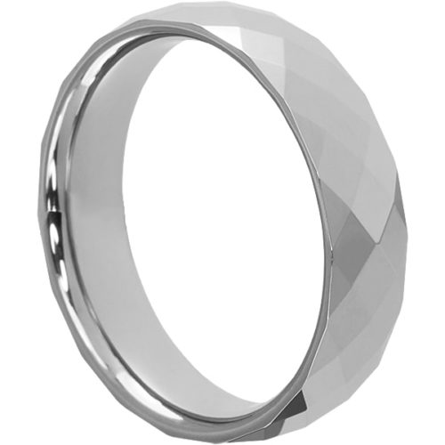 Hades Eye Catching Mens Faceted Tungsten Rings