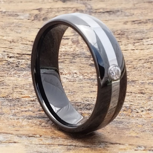 Halo Solitaire Gemstone Black Mens Diamond Rings