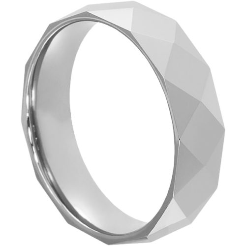 Helene Bright Silver Faceted Tungsten Rings