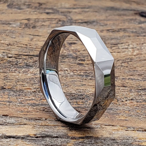 Cressida High Shine Faceted Tungsten Rings